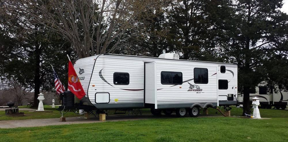 Large RV parked at Mill Creek Ranch Resort