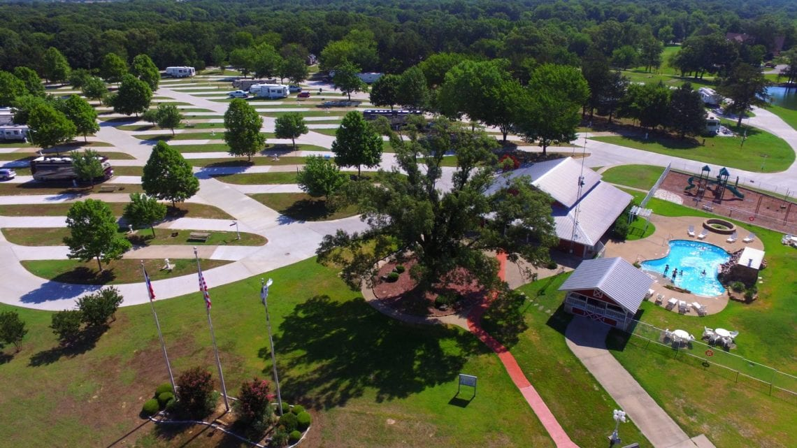 Aerial view of rv park, family vacations in texas